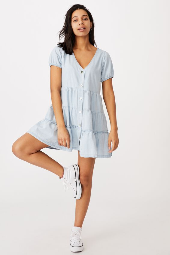 Woven Tawni Tiered Babydol Mini Dess, CHAMBRAY BLUE