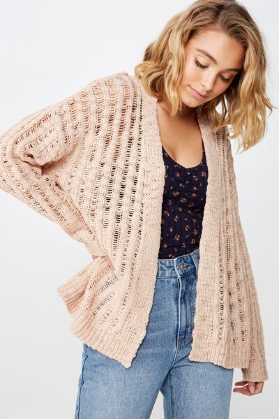 Open Ladder Knit Cardi, ROSE DUST