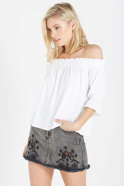 Stacey Off The Shoulder Ruffle Top, WHITE
