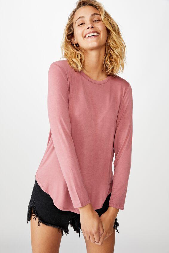 Kathleen Long Sleeve Top, ROSE WINE