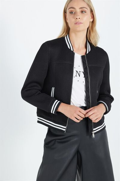 Mesh Sporty Bomber, BLACK