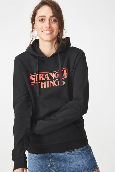 Delevingne Graphic Hoodie, LCN STRANGER THINGS LOGO/BLACK