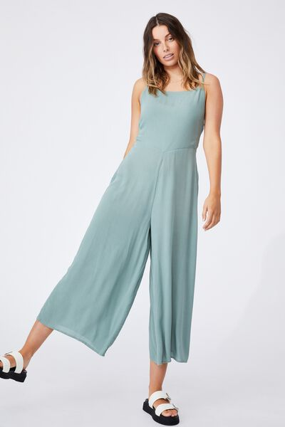 Woven Rose Tie Back Jumpsuit, CHINOIS GREEN