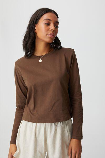 Padded Shoulder Long Sleeve Top, BROWN