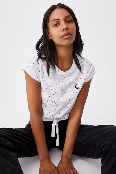 Tie Front Graphic Tee, MOON YARDAGE/WHITE BLACK SPOT