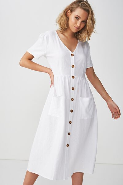 Woven Camila Button Through Midi Dress, WHITE