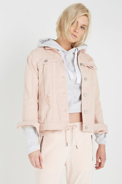 Boyfriend Trucker Denim Jacket, WASHED NUDE PINK