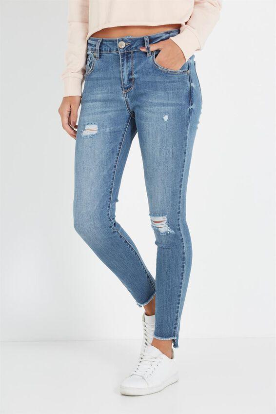 Mid Rise Grazer Skinny Jean, VINTAGE BLUE KNEE HOLE
