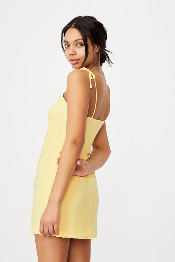 Woven Holly Ruched Strappy Mini Dress, LEMON