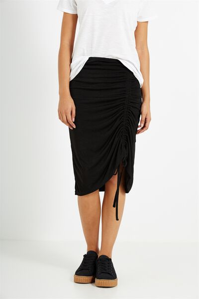 Kn Lombard Gathered Skirt, BLACK
