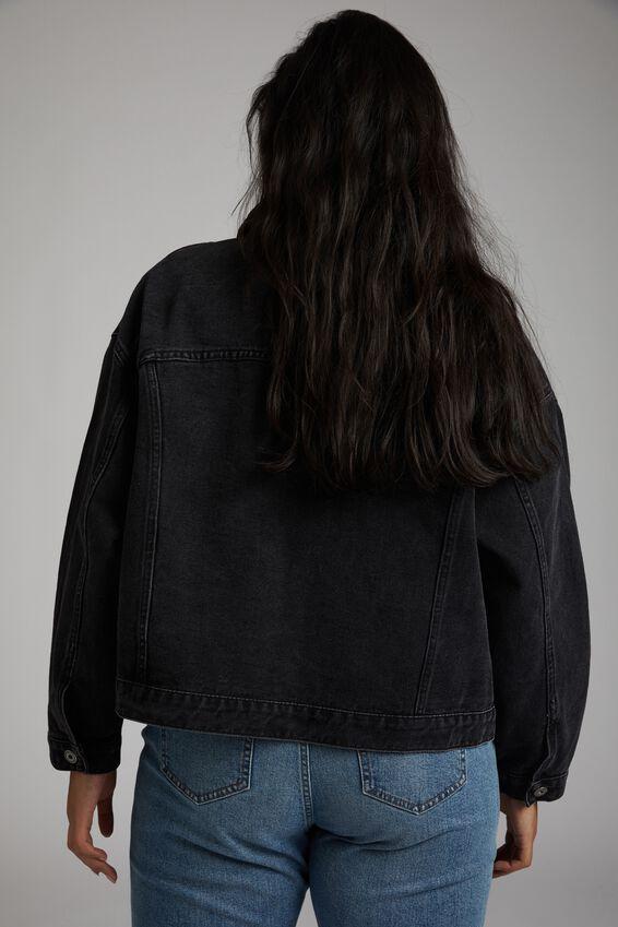 Curve 90S Baggy Denim Jacket, VINTAGE BLACK