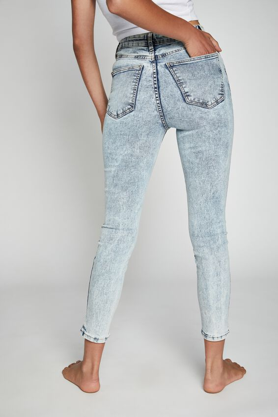 High Rise Cropped Skinny Jean, BOWIE BLUE ACID