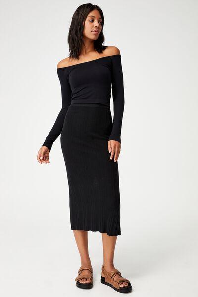 Ultimate Knit Midi Skirt, BLACK