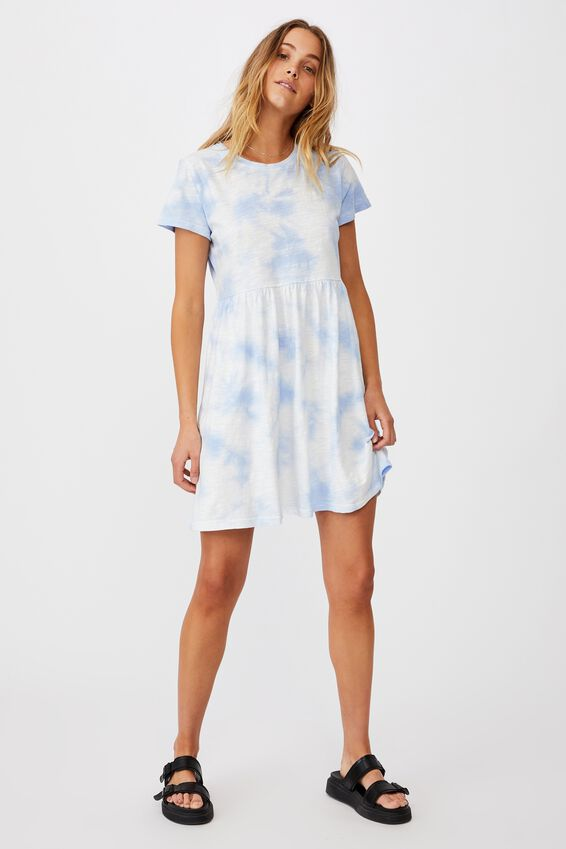 Tina Babydoll Tshirt Dress, WHITE/POWDER BLUE TIE DYE