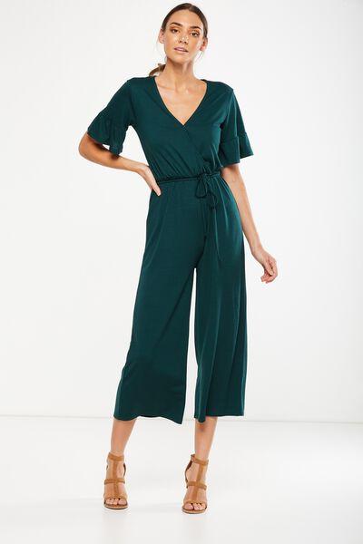 Josie Short Sleeve Jumpsuit, BOTANICAL GREEN