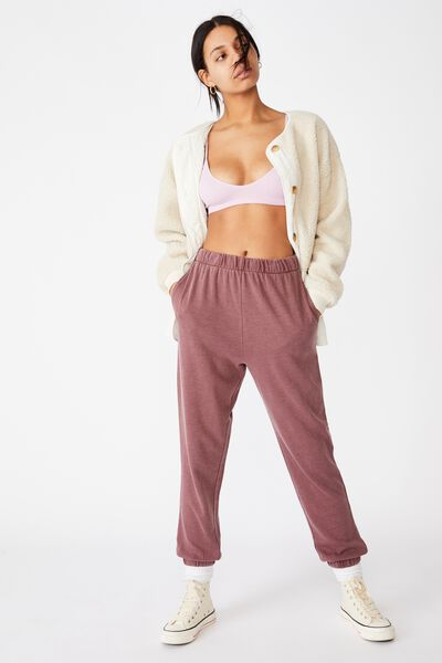 High Waisted Trackpant, DUSTY PLUM GARMENT PIGMENT DYE