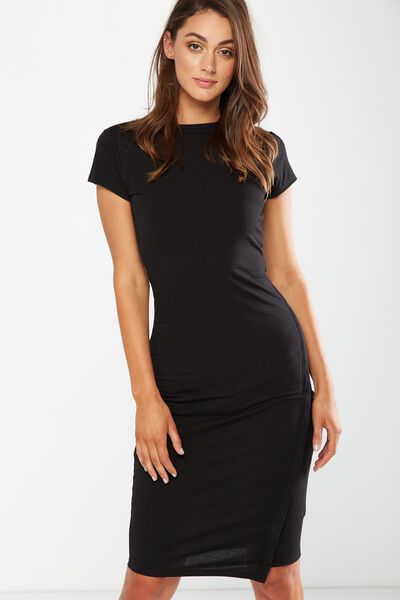 Anthea Short Sleeve Midi Dress, BLACK