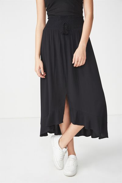 Woven Hayley High Low Midi Skirt, BLACK