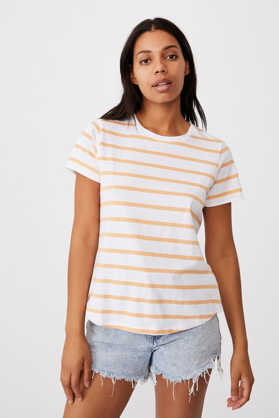 The One Crew Tee, DANNY STRIPE WHITE/ICY APRICOT