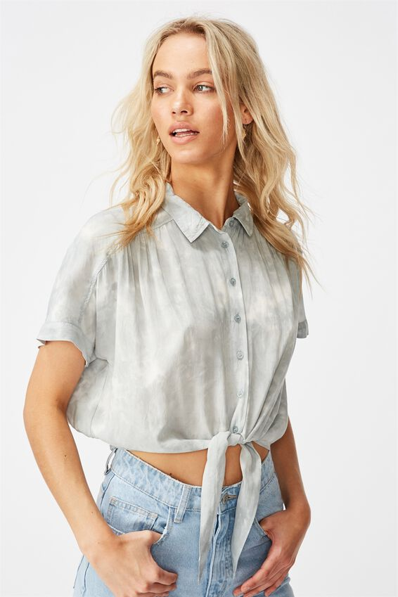 Epic Tie Front Short Sleeve Shirt, WASHED CLOUD BLUE