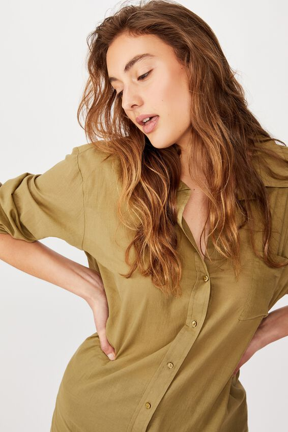 Savannah Oversize Resort Shirt, LIGHT OLIVE