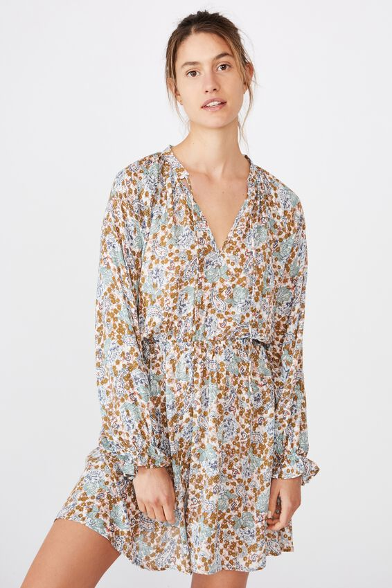 Woven Kasey Long Sleeve Smock Dress, EMILY FLORAL PAISLEY WHITE/GOLD SPARKLE