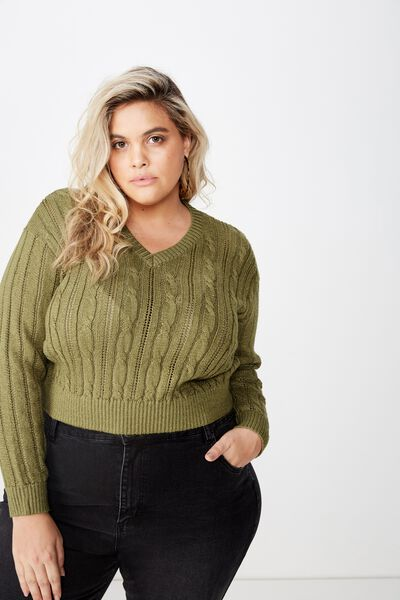 Curve Cable Pull Over, LIGHT OLIVE