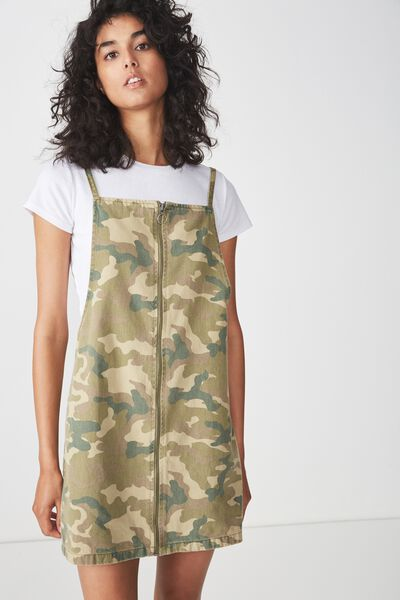 Faith Denim Pinafore Mini Dress, CATE CAMO OLIVE