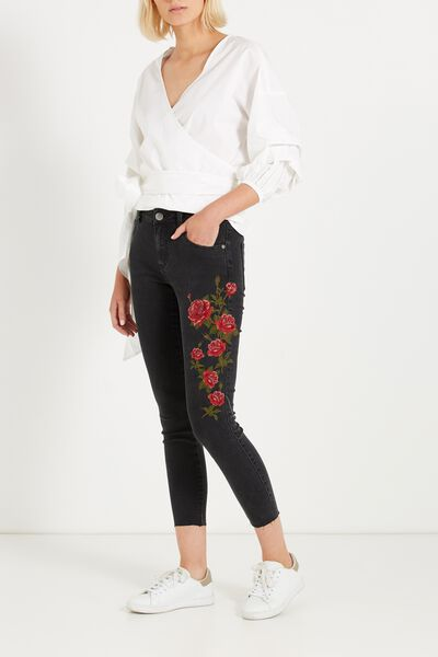 Mid Rise Grazer Skinny Jean, ROSE RED BLACK EMBROIDERY