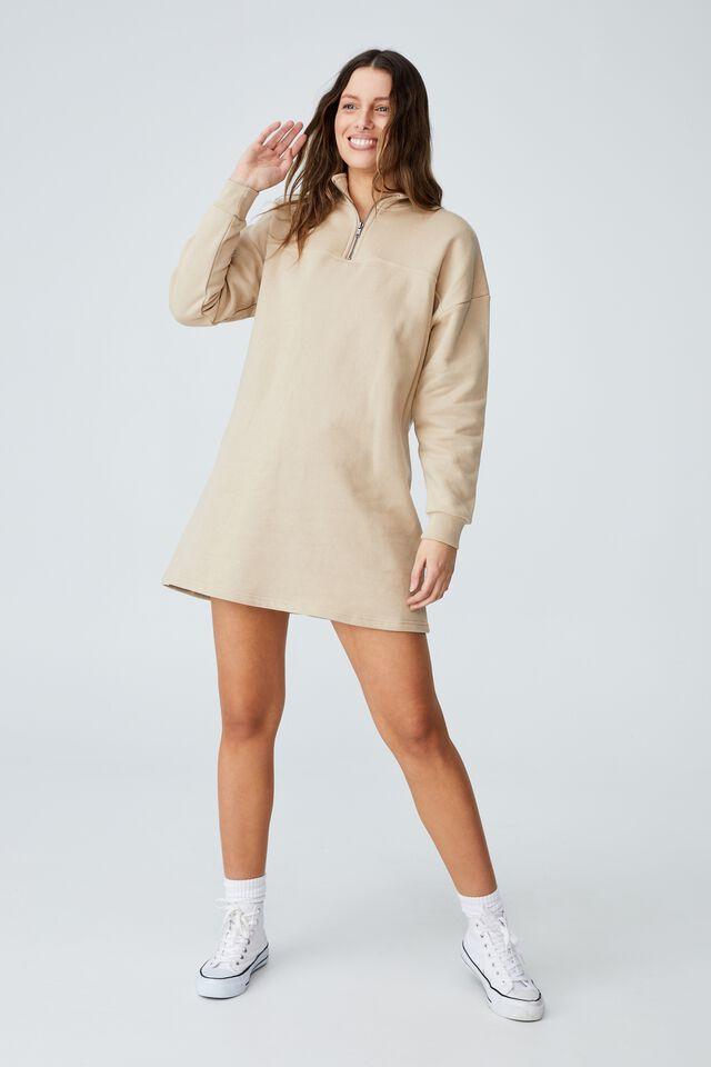 Zizzy Zip Sweater Mini Dress, LINEN TAUPE