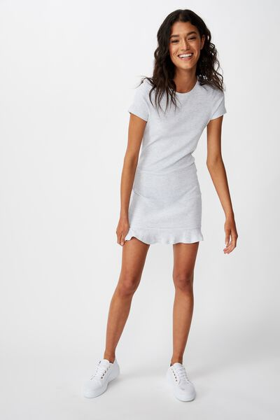 Tamika Short Sleeve Ruffle Hem Mini Dress, SILVER MARLE
