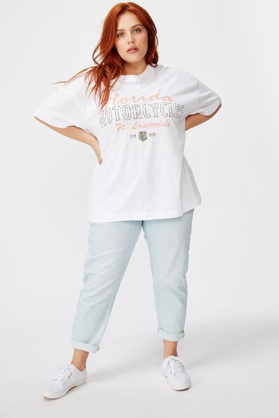 Curve Oversized Graphic Tee, FLORIDA MOTORCYCLES/WHITE