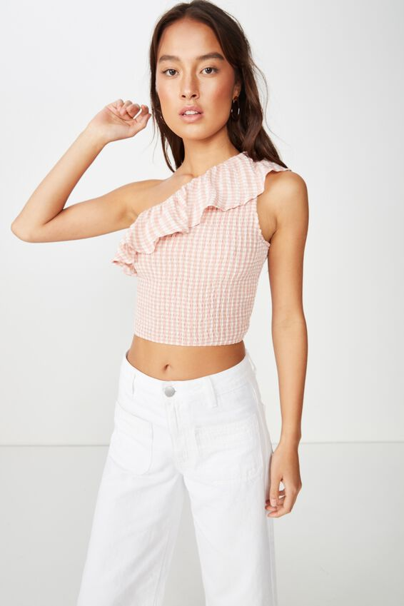 Fiona One Shoulder Top, GINGHAM ROSE TAN