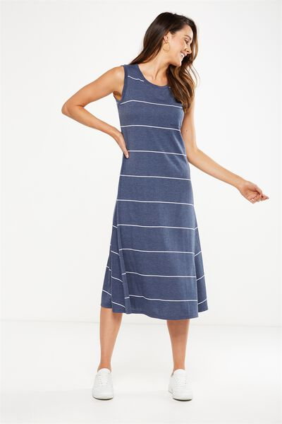 Issac Tank Maxi Dress, DENIM MARL/WHITE VERTICAL LARGE WIDE STRIPE