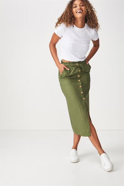 Woven Molly Button Through Midi Skirt, SOFT KHAKI