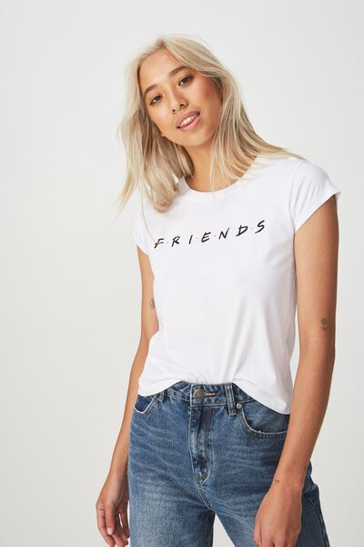 Tbar Rachael Graphic Tee Shirt, LCN FRIENDS LOGO/WHITE