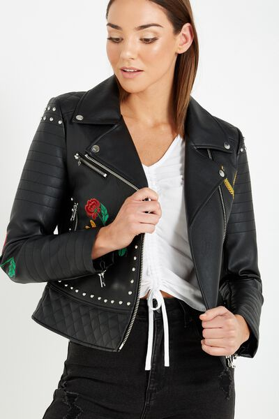 Stella Embellished Pu Biker Jacket, FLORAL EMBROIDERY