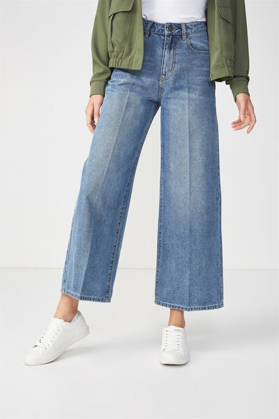 High Rise Wide Leg Jean, DARK BLUE PRESS