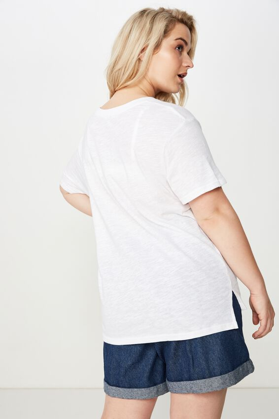 Curve Crew Neck Tee, WHITE