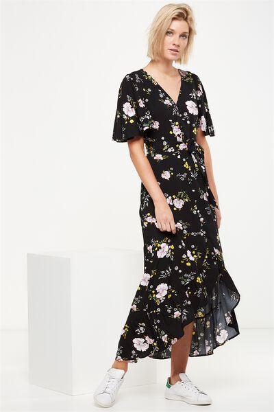 Woven Dallas Cape Sleeve Maxi Dress, SHARON FLORAL BLACK