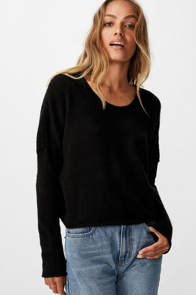 Slouchy Fine Pullover, BLACK