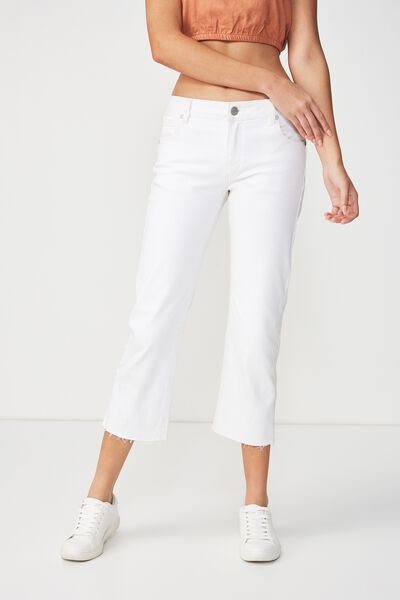 Mid Rise Straight Crop Stretch Jean, PRESSED WHITE