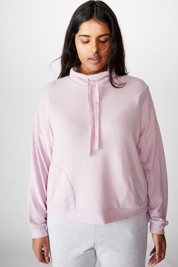 Curve Super Soft Mock Crew Neck Top, SOFT VIOLET MARLE