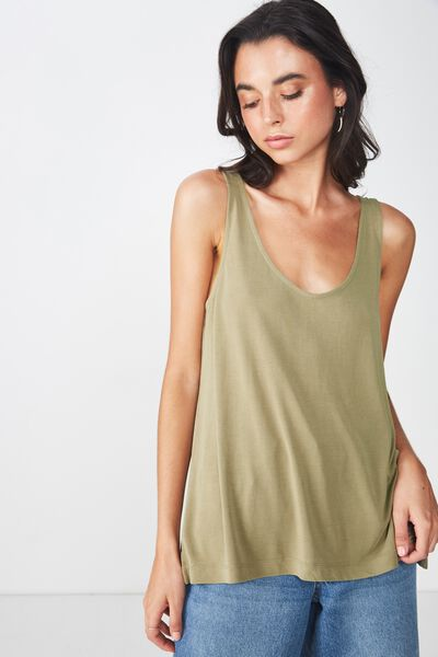 Tia Scooped High Low Tank, SILVER SAGE