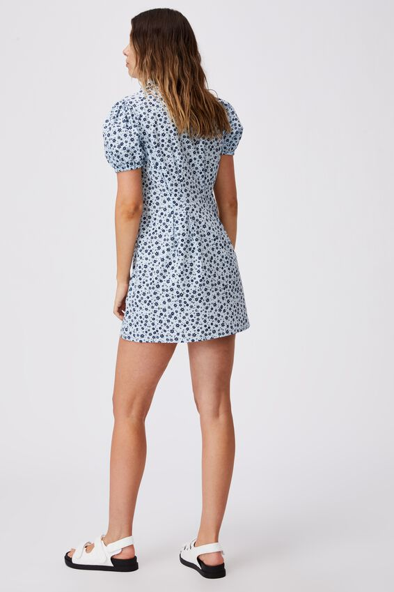 Woven Bambie Button Front Shirt Dress, SUSIE DITSY DAISY BLUE