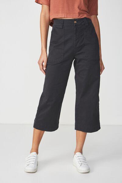 Wide Leg Chop Pant, BLACK