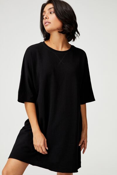 The Easy Short Sleeve Crew Mini Dress, BLACK