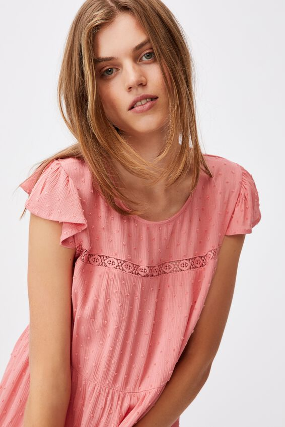 Woven Ivy Frill Sleeve Mini Dress, MUSK PINK
