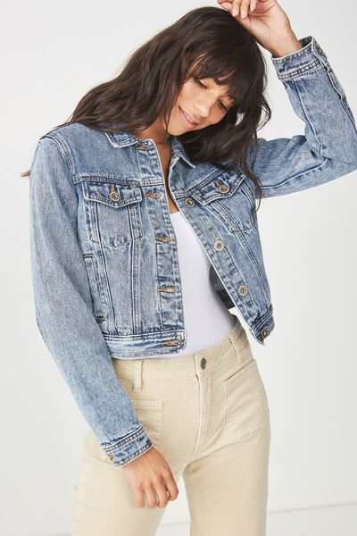 Girlfriend Fashion Denim Jacket, ACID WASH
