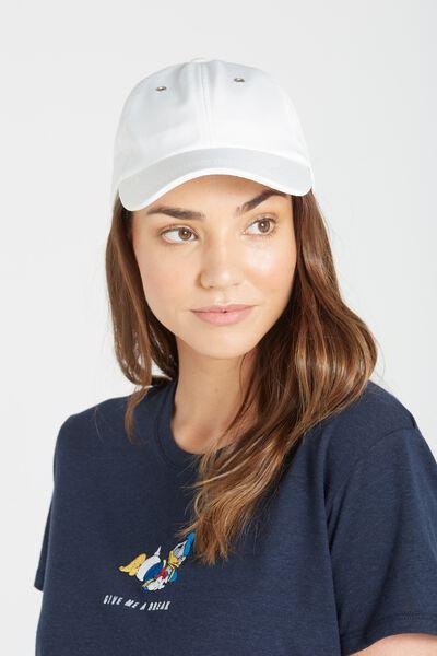 Essential Cap, WHITE SATIN/SILVER EYELET
